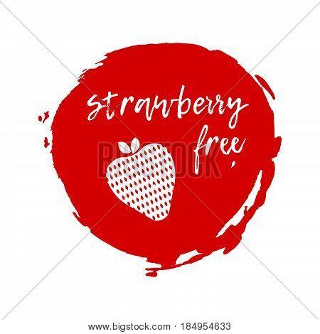 Strawberry Free Label. Food Intolerance Symbols. Vector Illustration