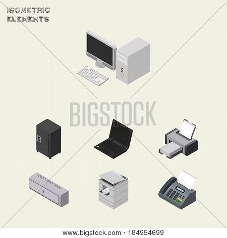 Isometric Office Set Of Printing Machine, Computer, Office Phone And Other Vector Objects. Also Includes Conditioner, Desktop, Fax Elements.