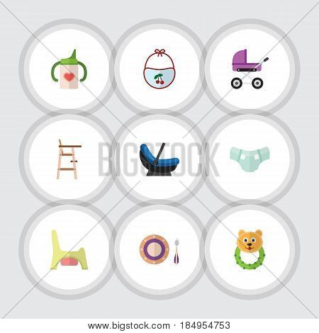 Flat Infant Set Of Child Chair, Nappy, Stroller And Other Vector Objects. Also Includes Cradle, Pram, Stool Elements.