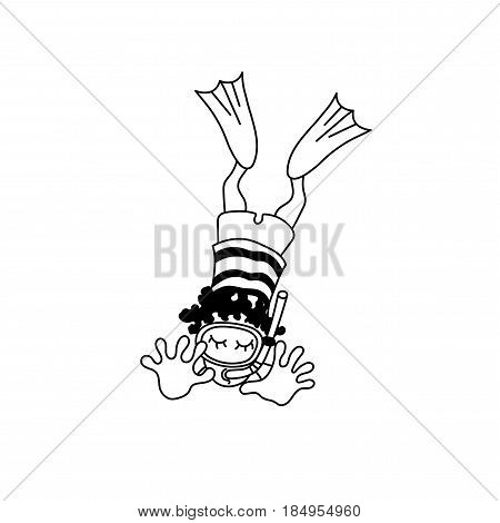 Vector illustration of floating child with a mask and flippers. Cartoon aqualunger