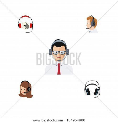 Flat Call Set Of Headphone, Help, Service And Other Vector Objects. Also Includes Telemarketing, Operator, Support Elements.