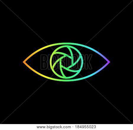 Photography logo rainbow gradient eye. Line art design. Bright photo logotype on black background