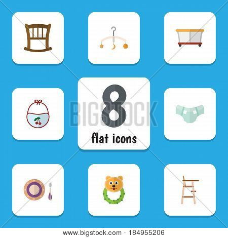 Flat Kid Set Of Infant Cot, Nappy, Rattle And Other Vector Objects. Also Includes Child, Diaper, Beanbag Elements.