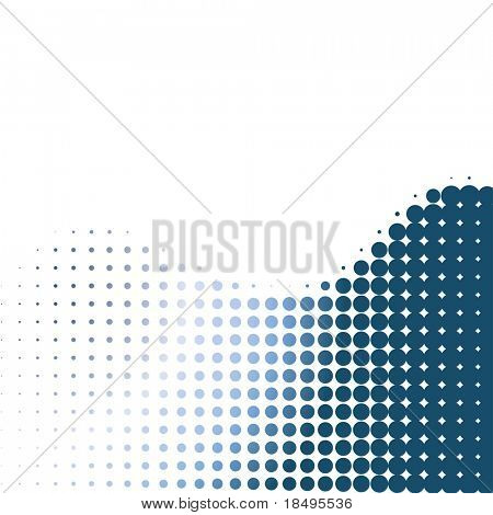 Raster - Metallic halftone retro dots forming a wave for background use.