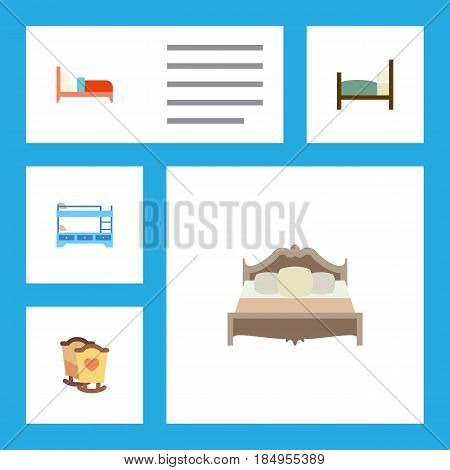 Flat Bed Set Of Bunk Bed, Bearings, Bedroom And Other Vector Objects. Also Includes Hostel, Bunk, Crib Elements.