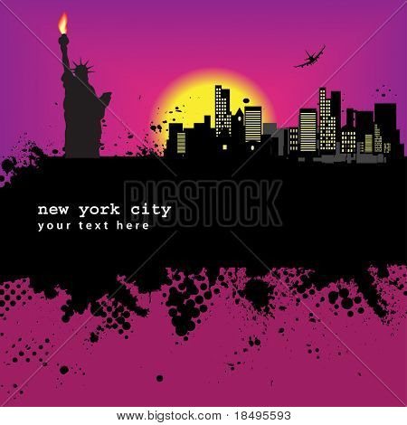 Vector - New York Grunge city at sunset with the statue of liberty