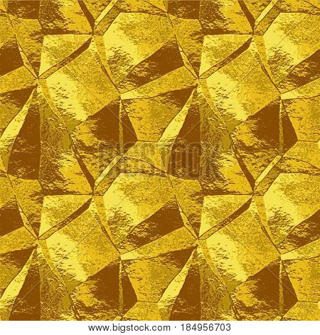 Abstract wrinkled folded metal pattern resembling brushed foil. Gold, yellow and brown metal background of polygonal shapes