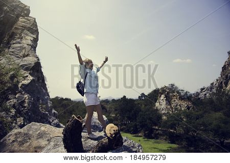 Young woman solo trip travel trekking mountains
