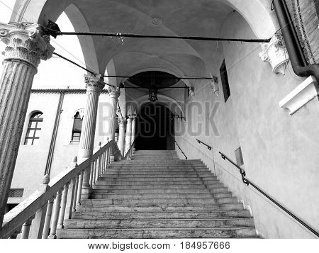 Ancient staircase of the municipal building of Ferrara, Italy