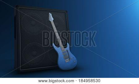 Combo Amplifier For Guitar With Guitar On The Blue Background With Copy Space 3D Illustration