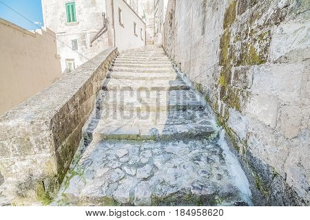 Old Stairs Of Stones, The Historic Building Near Matera In Italy Unesco European Capital Of Culture