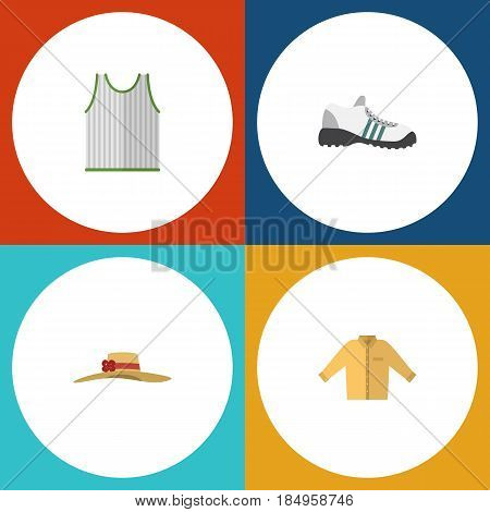 Flat Dress Set Of Sneakers, Elegant Headgear, Banyan And Other Vector Objects. Also Includes Sneakers, Gumshoes, Banyan Elements.