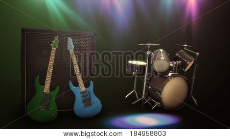 Blue And Green Electric Guitar With A Large Combo And Drum Set 3D Illustration