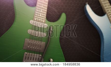Blue And Green Electric Guitar With Big Close-up 3D Illustration