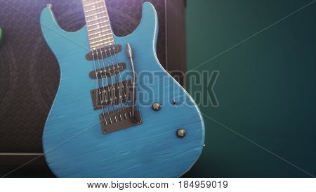Blue Electric Guitar With Big Close-up With Copy Space 3D Illustration