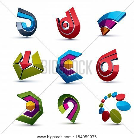 3D Vector Abstract Shapes, Different Business Icons And Design Elements Collection. Geometric Abstra