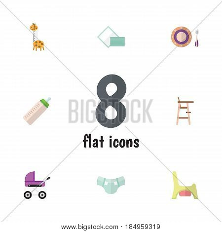 Flat Child Set Of Feeder, Toilet, Napkin And Other Vector Objects. Also Includes Chair, Nappy, Toy Elements.
