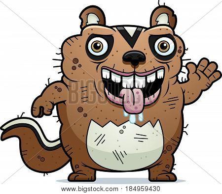 Cartoon Ugly Chipmunk Waving