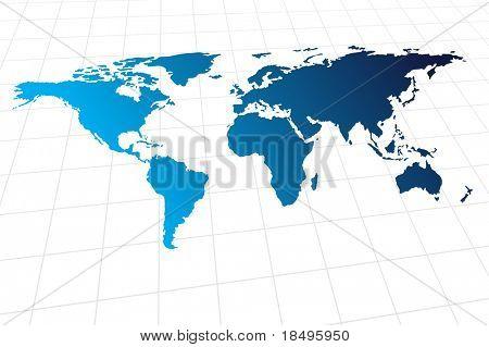Vector - mapa mundial moderno con onda metálica