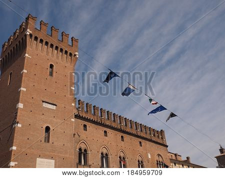 Palace with battlement, on the main square of Ferrara, Italy.