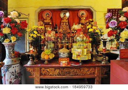 Traditional Offerings For Spirits And Gods In A Temple. Hanoi, Vietnam