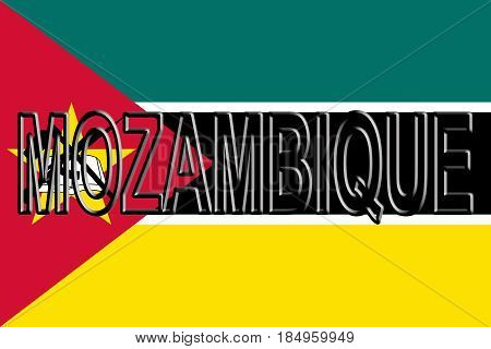 Flag Of Mozambique Word.