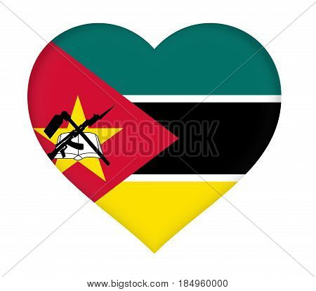 Flag Of  Mozambique Heart