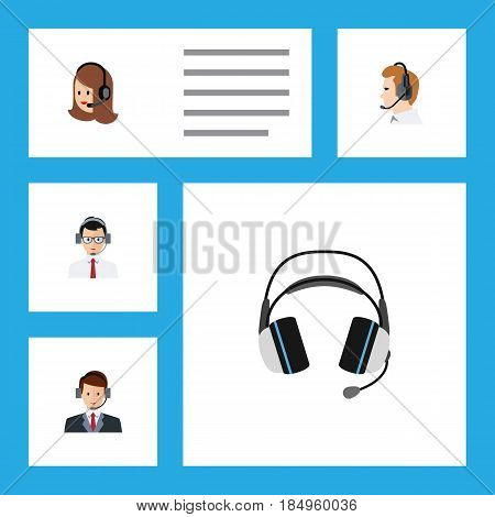 Flat Center Set Of Help, Telemarketing, Hotline And Other Vector Objects. Also Includes Online, Center, Headphone Elements.