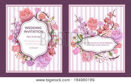 Colorful wedding invitation cards with greeting text in elegant frames and blossom flowers on striped background vector illustration