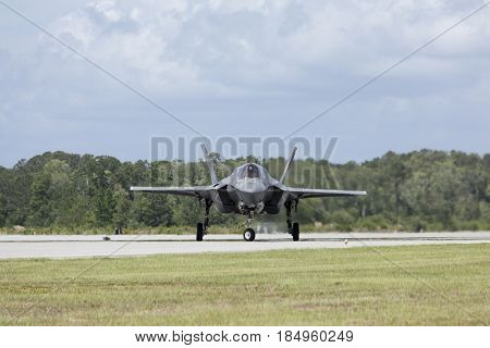 BEAUFORT, SOUTH CAROLINA-APRIL 30, 2017: A US Marines F-35 lightning taxis on the runway at the Marine Corp Air Station