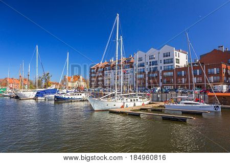 GDANSK, POLAND - MAY 2, 2017: Marina at Motlawa river in old town of Gdansk. Gdansk is the historical capital of Polish Pomerania with medieval old town architecture.