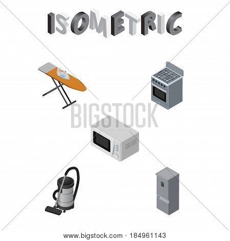 Isometric Appliance Set Of Microwave, Cloth Iron, Kitchen Fridge And Other Vector Objects. Also Includes Board, Ironing, Microwave Elements.