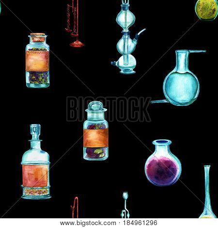 Vintage Science seamless background pattern with chemistry objects. Jars, bottles, containers, apparatuses, hand painted in watercolours on a black background, forming a repeat print