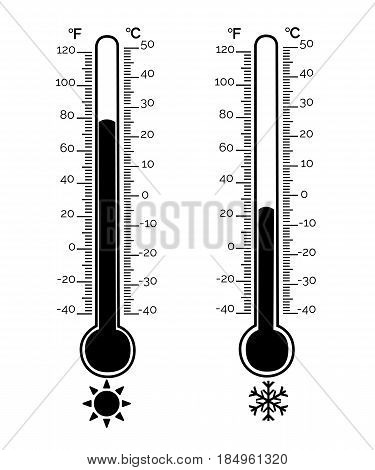 Thermometer Equipment Showing Hot Or Cold Weather .celsius And Fahrenheit Meteorology Thermometers M