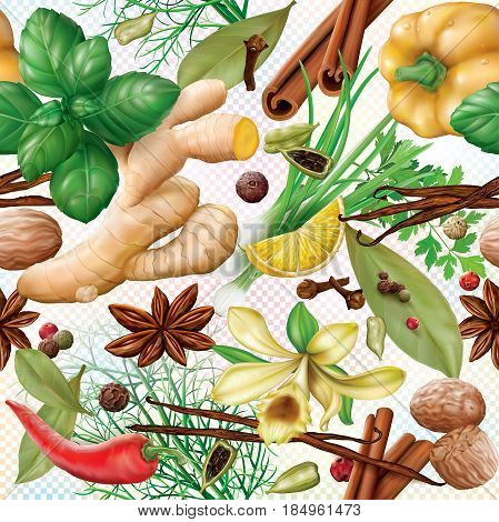 Aromatic different spices and herbs on a transparent background. Vector illustration