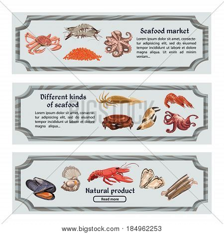 Colorful hand drawn seafood horizontal banners with text marine animals and creatures vector illustration