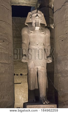 Statues Of Ramses Ii At Luxor Temple At Night