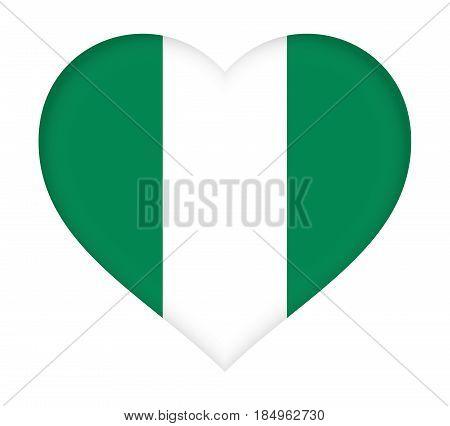 Flag Of  Nigeria Heart