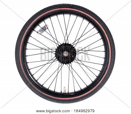 bicycle wheel set isolated on white background consisting of spokes tire and bearing system with some metallic gears