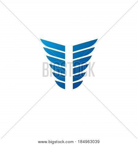 Blue wings heraldic symbol. Heraldic Coat of Arms decorative logo isolated vector illustration.