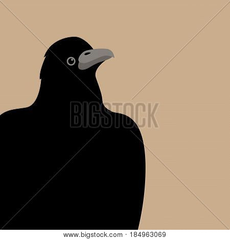 Raven vector illustration style Flat front side