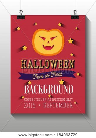 Set of Halloween flat icons. Orange pumpkin. Invitation, poster or card for Halloween Night Party. Trick or Treat.