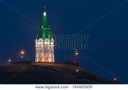 Paraskeva Pyatnitsa chapel Krasnoyarsk. old chapel on a mountain in Krasnoyarsk. the chapel is illuminated at night