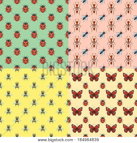 Colorful insects seamless pattern wildlife wing detail summer bugs wild vector illustration. Nature pest small animal art sign element stag detail graphic.