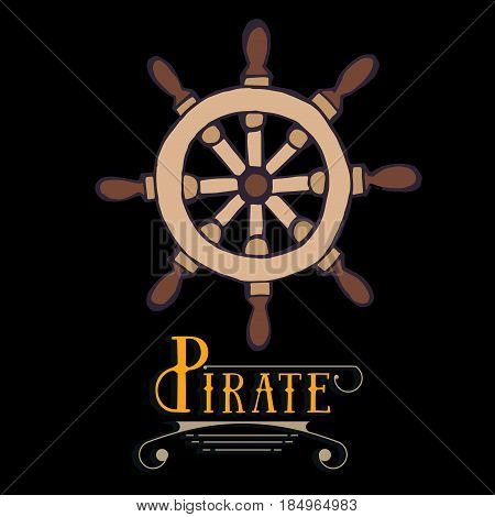 Marine helm wheel with sample typography. Hand drawing symbol haelm. Laybel for sea ship, marine equipment, captain