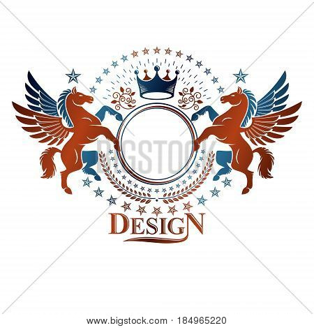 Graphic vintage emblem composed with winged Pegasus ancient animal element royal crown and pentagonal stars. Heraldic vector design element. Retro style label heraldry logo.