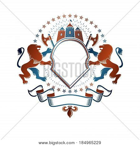 Graphic winged emblem Lion heraldic animal element medieval tower and hatchets. Heraldic Coat of Arms decorative logo isolated vector illustration.