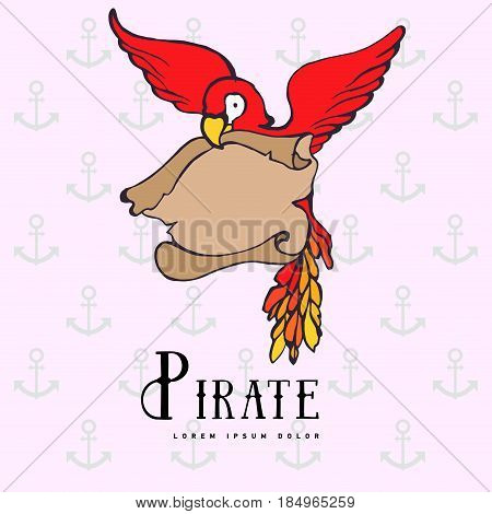 Hand drawing cartoon pirate parrot with treasure navigation map. Illustration silhouette bird with simple shagow. Marine. Label. Calligraphy. Icon parrot