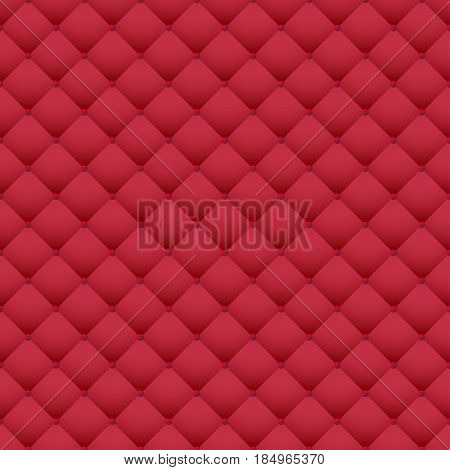 Red leather upholstery vector seamless pattern. Quilted leather texture. Can be used in web design and graphic design.
