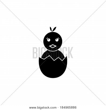 Chick hatched from an egg solid icon, religion holiday elements, Happy easter sign, a filled pattern on a white background, eps 10.